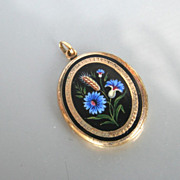 Victorian Mourning Locket. Rolled Gold  Black Enamel. Wheat Cornflower