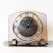 Rare 1940s Vintage German Art Deco Glass Alarm clock/Made in Germany/Kienzle/Alarm clock ...