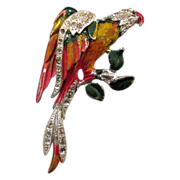Jose Rodriguez Enameled Parrot Pin - Book References, 1940 Design Patent