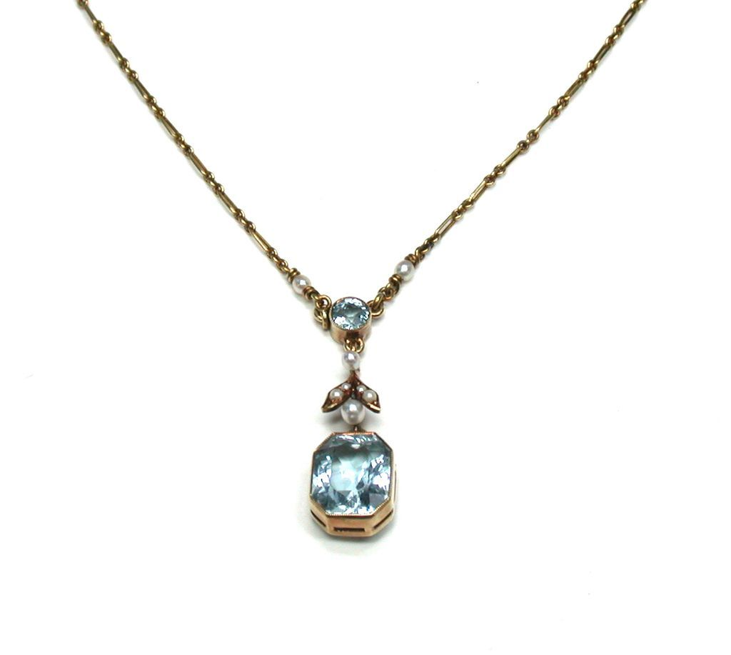 Aquamarine Amp Natural Seed Pearl Pendant Necklace From
