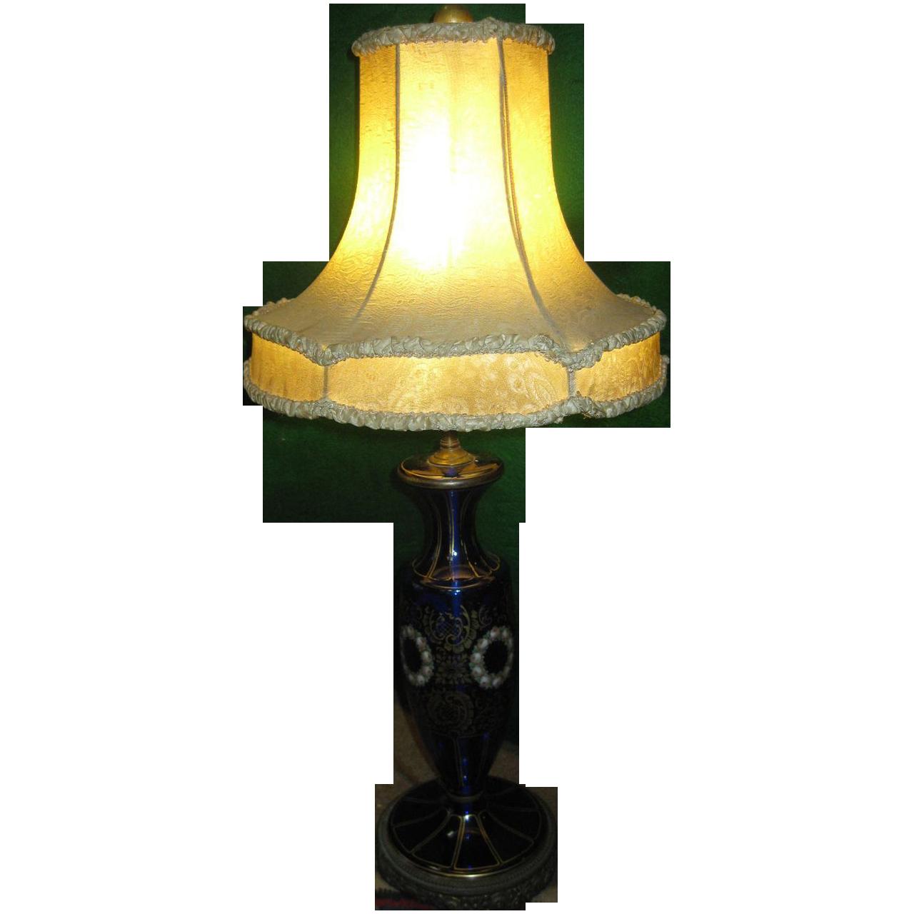vintage cobalt blue glass table lamp from savannahgalleries on ruby. Black Bedroom Furniture Sets. Home Design Ideas