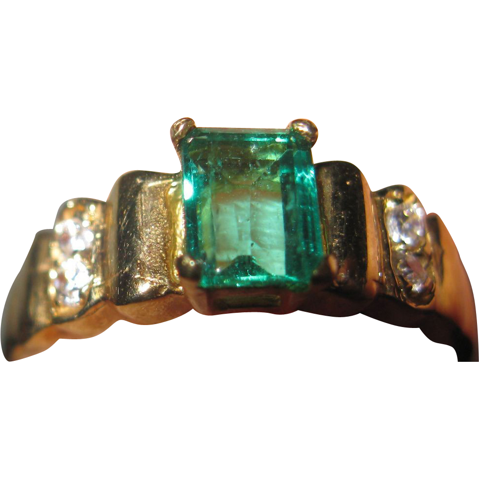 columbian emerald and ring 18k from