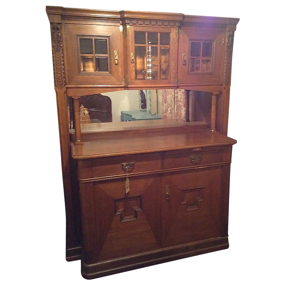 Vintage early american bar whiskey cabinet with pull out for Early american kitchen cabinets