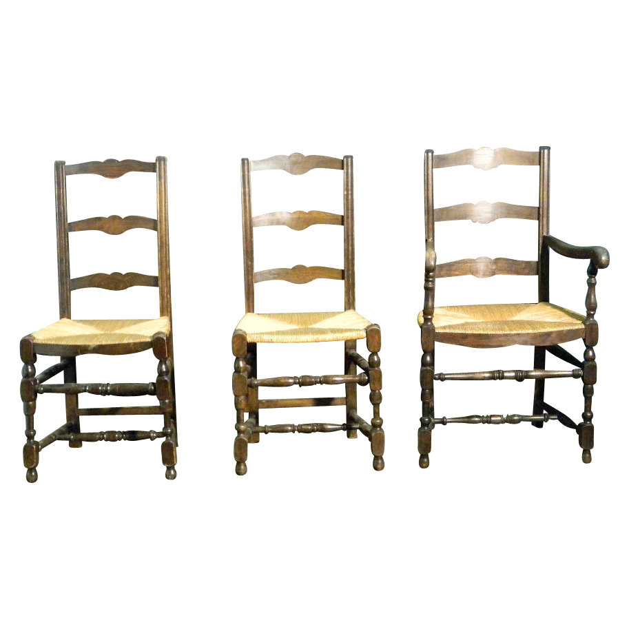 4 French Antique Ladder back Dining Chairs with Rush Seats from maisondecorantiques on Ruby Lane