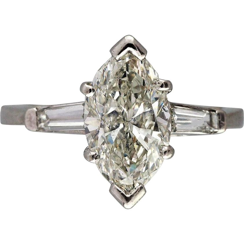 Vintage Marquise Engagement Ring 1 31ct Platinum Baguette from petersuchyjewe
