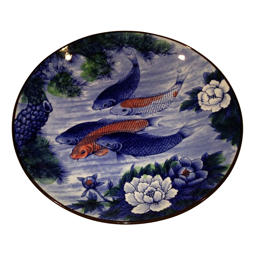 Large japanese vintage porcelain deep blue platter koi in for How deep should a koi pond be