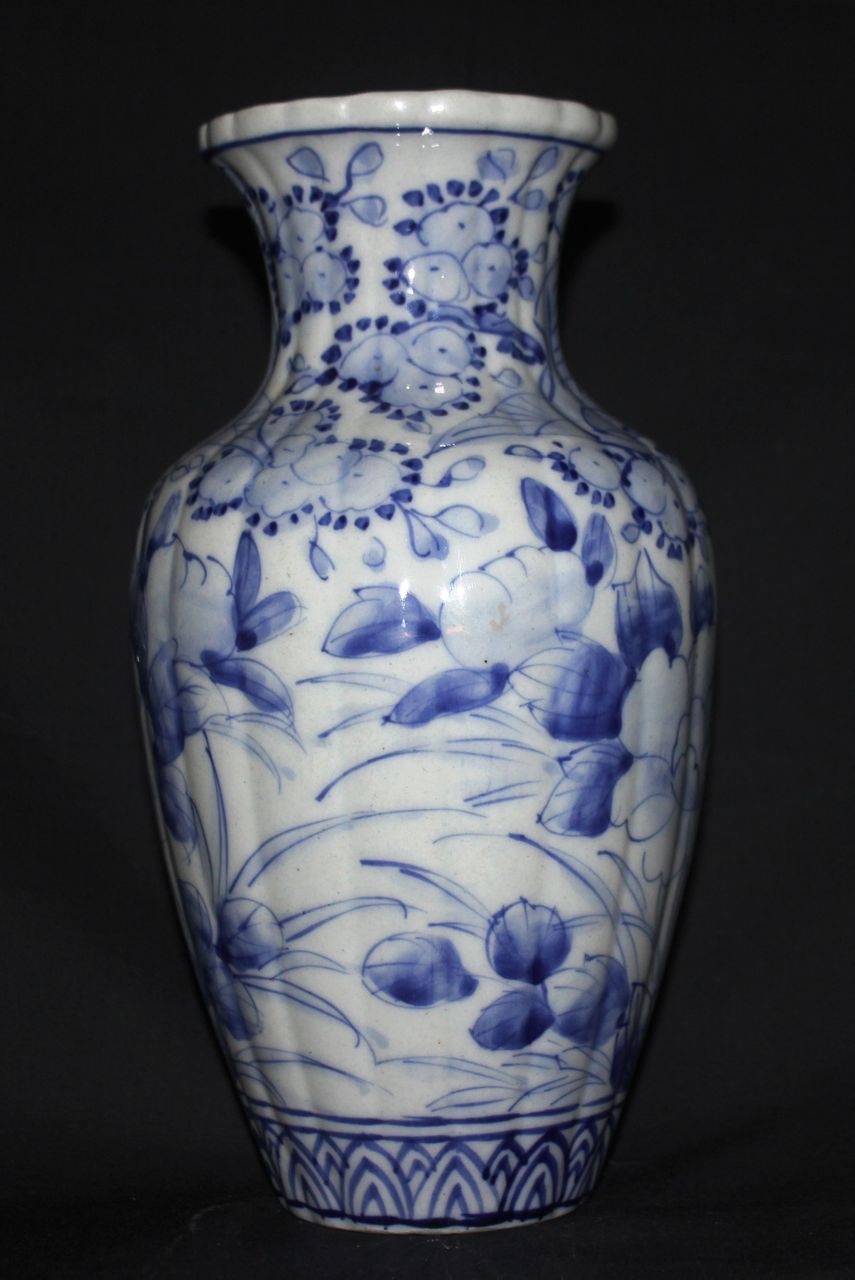 Japanese Antique Blue And White Porcelain Vase From