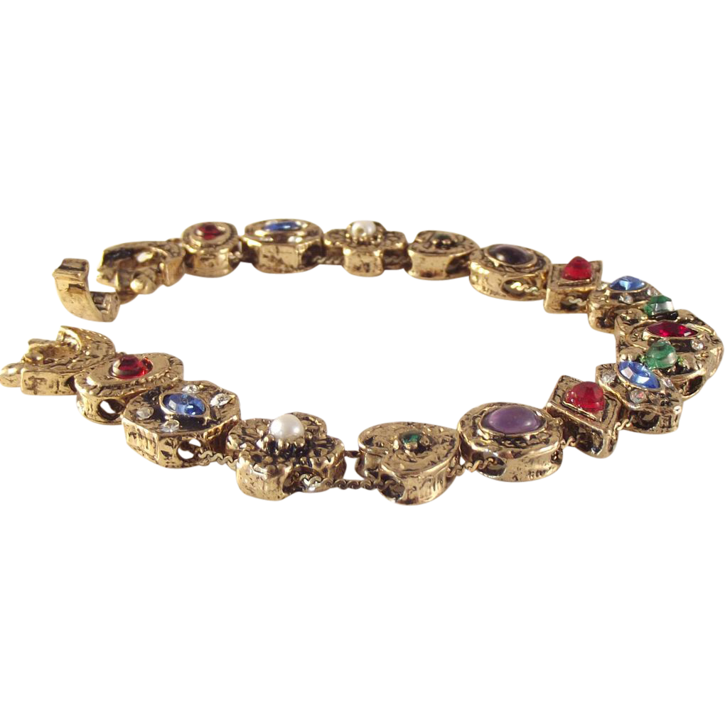 sale shop early vintage rhinestone slide charm bracelet