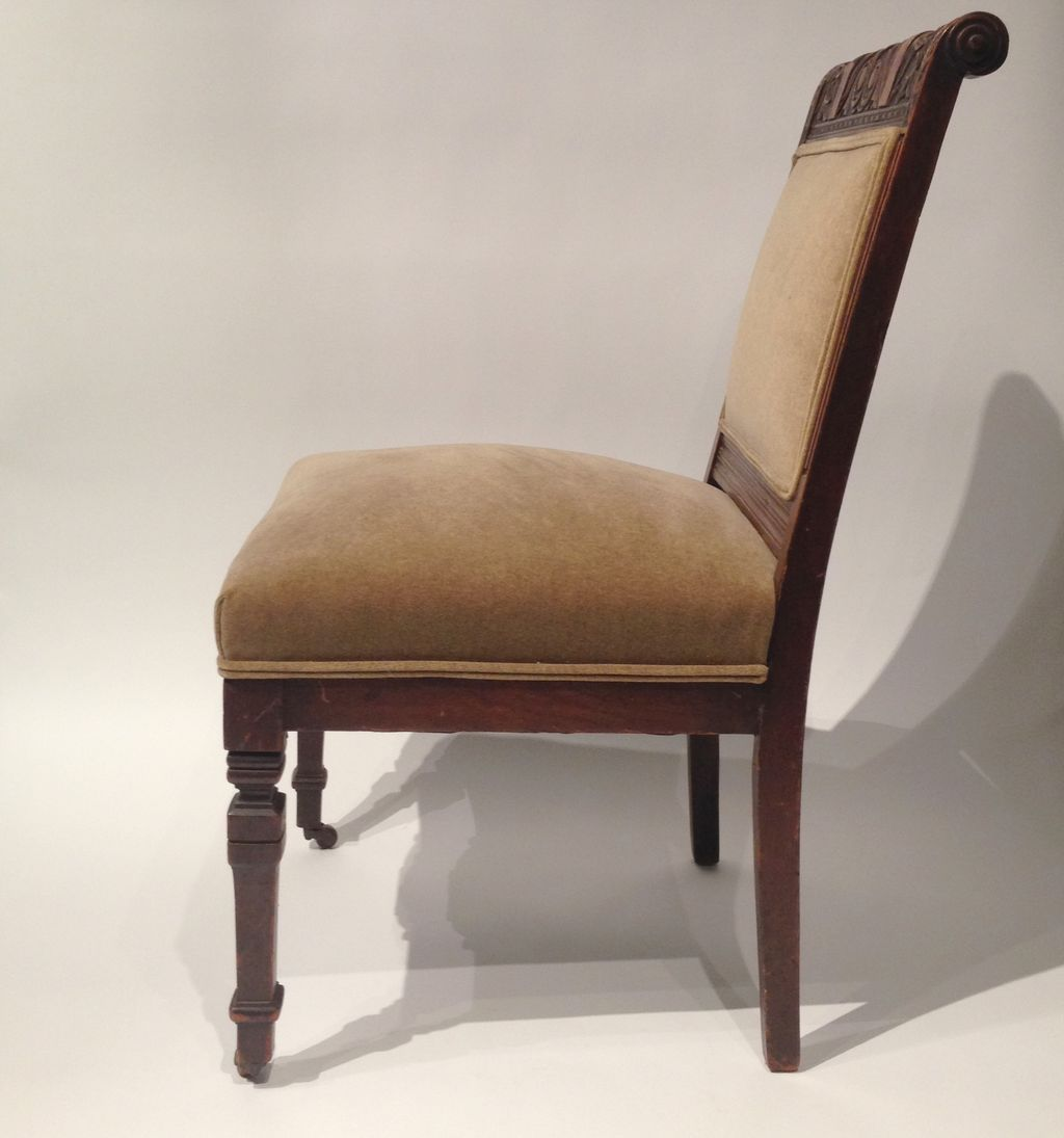 Antique Armless Chair On Castors Newly Upholstered From