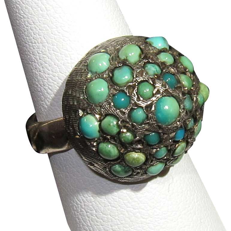 Dome Shaped Bands: Antique Victorian Turquoise Dome-Shaped Ring 5 3/4 From