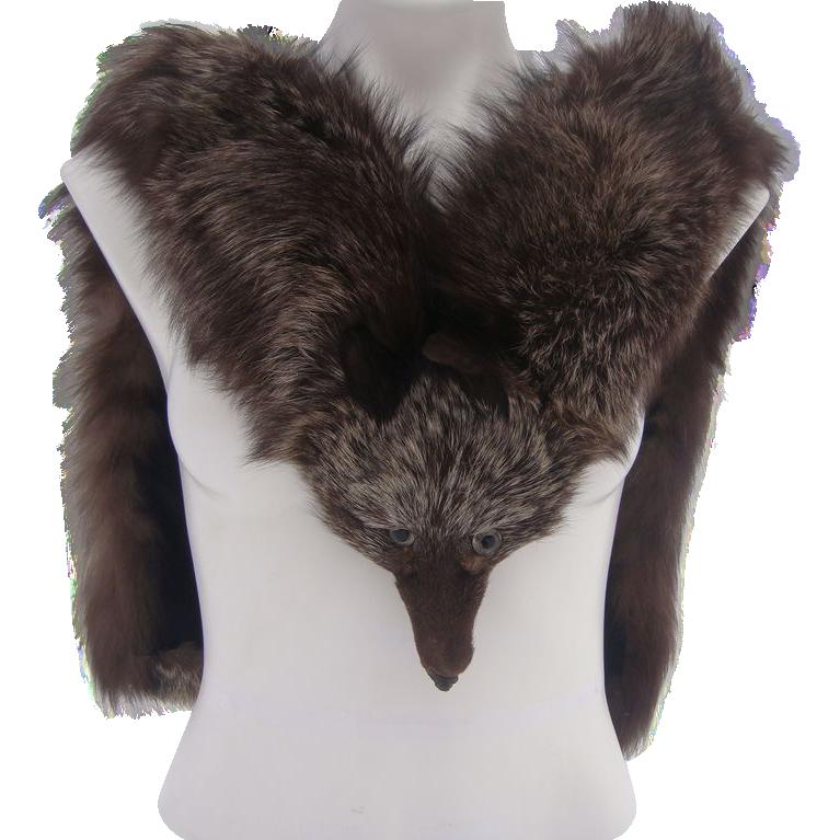 Vintage burgundy crystal fox fur stole from antiquetreasurebox on ruby lane - Stoel fur ...