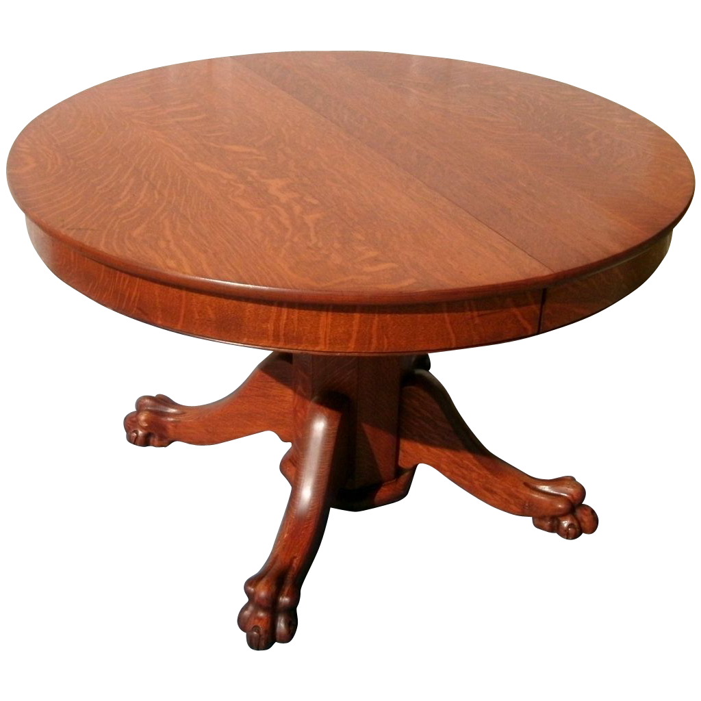 antique s tiger oak round pedestal with five chairs bedroom