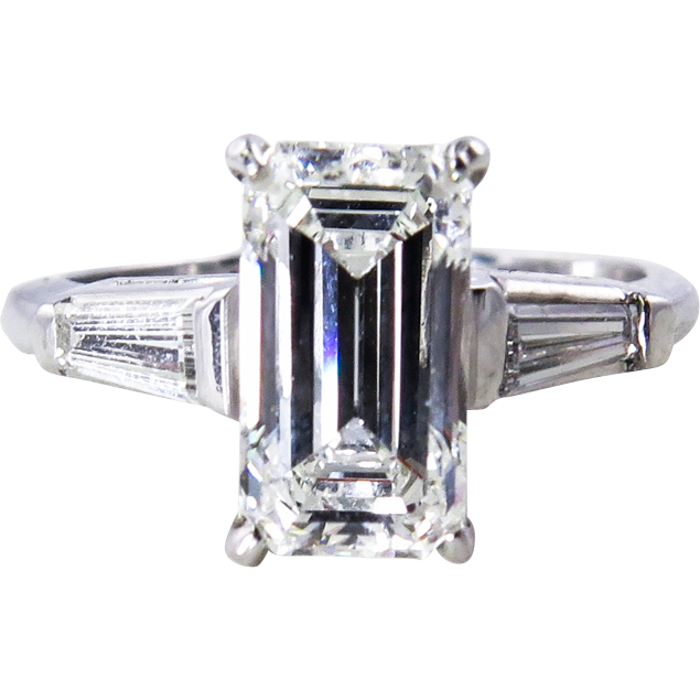 Ruby Ring Vintage Emerald Cut Ruby Ring