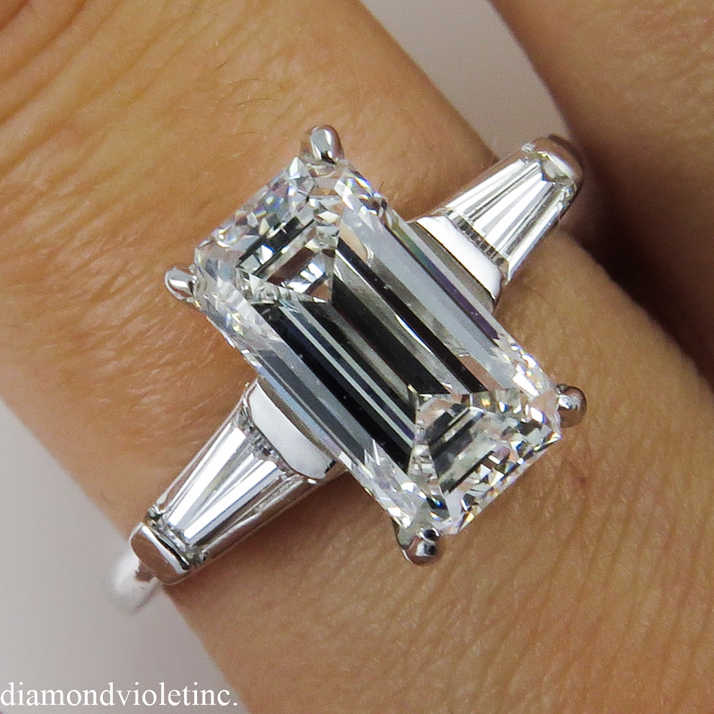 GIA 2 12CT Vintage Emerald Cut Diamond Engagement Ring Platinum from diamondv