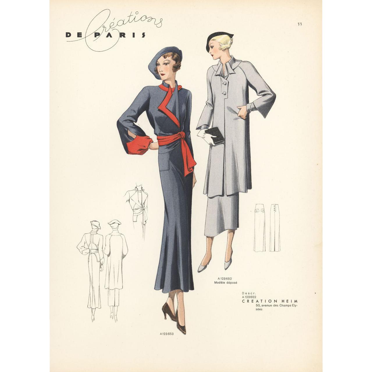 Original 1937 french art deco fashion design from for Art deco trend