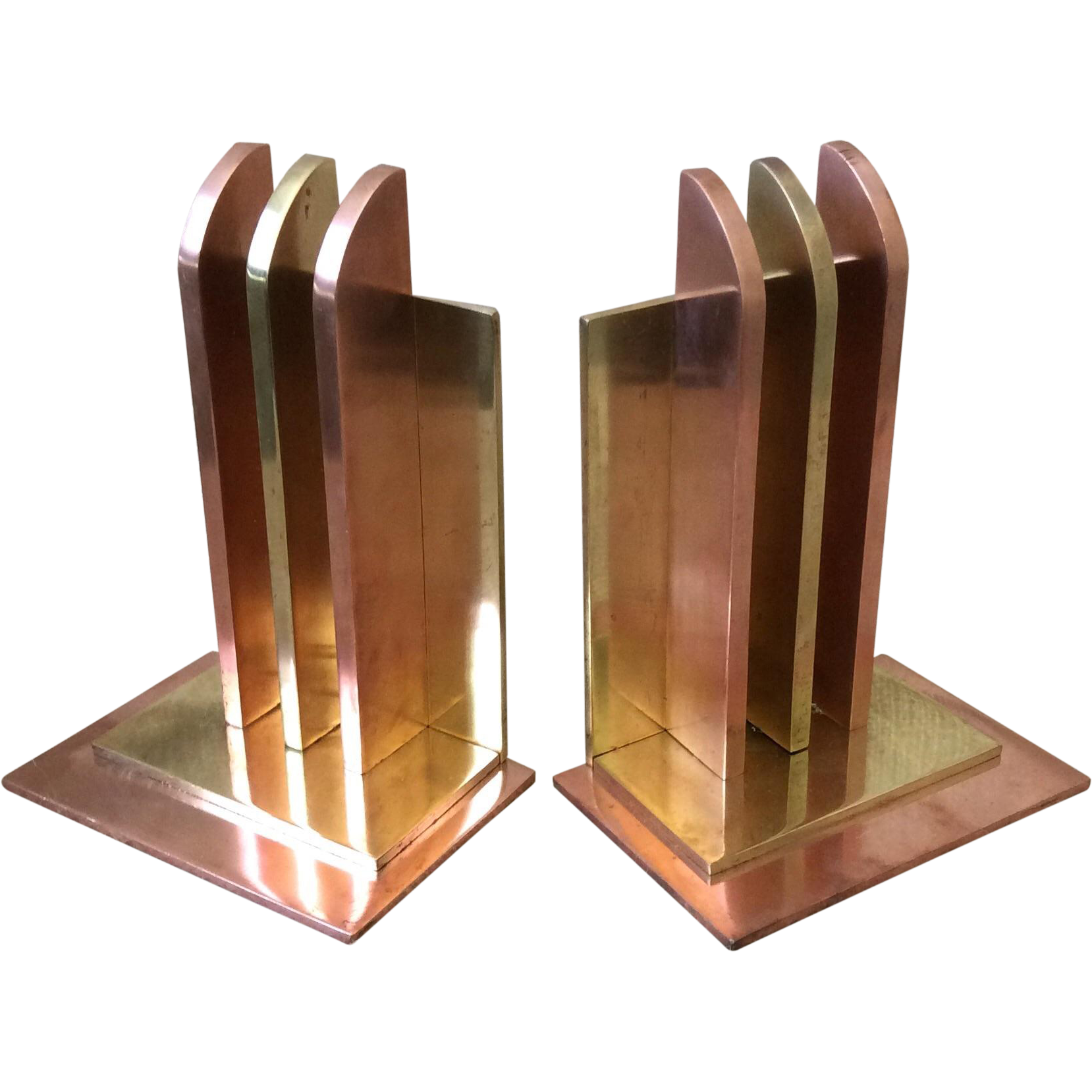 chase art deco copper and brass bookends 1930s from archetypes on ruby lane. Black Bedroom Furniture Sets. Home Design Ideas