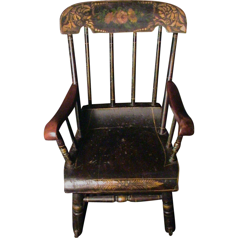 Antique Childs Rocking Chair Roses & Stenciled 19th C. Boston Rocker...