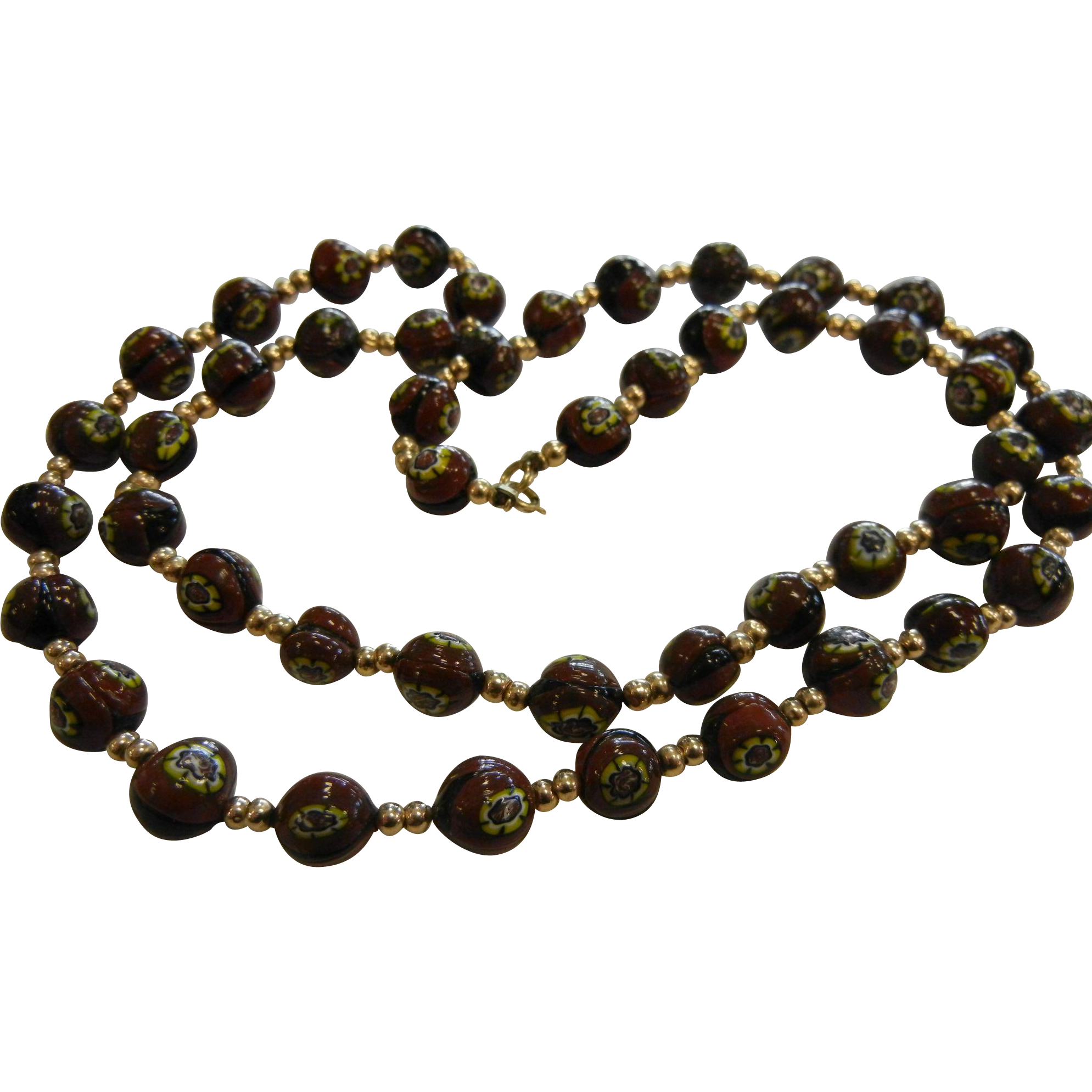 vintage glass bead necklace w 14k clasp from