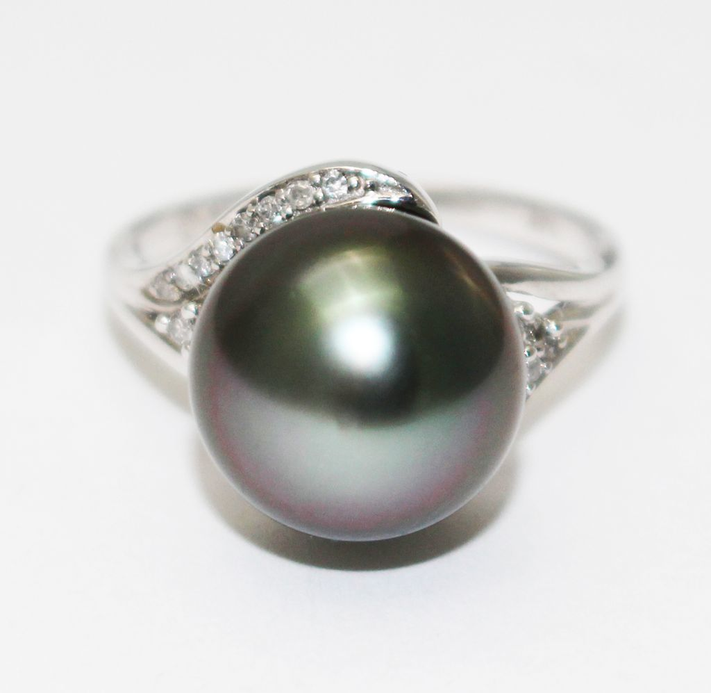 14kt white gold 11 5 mm tahitian pearl