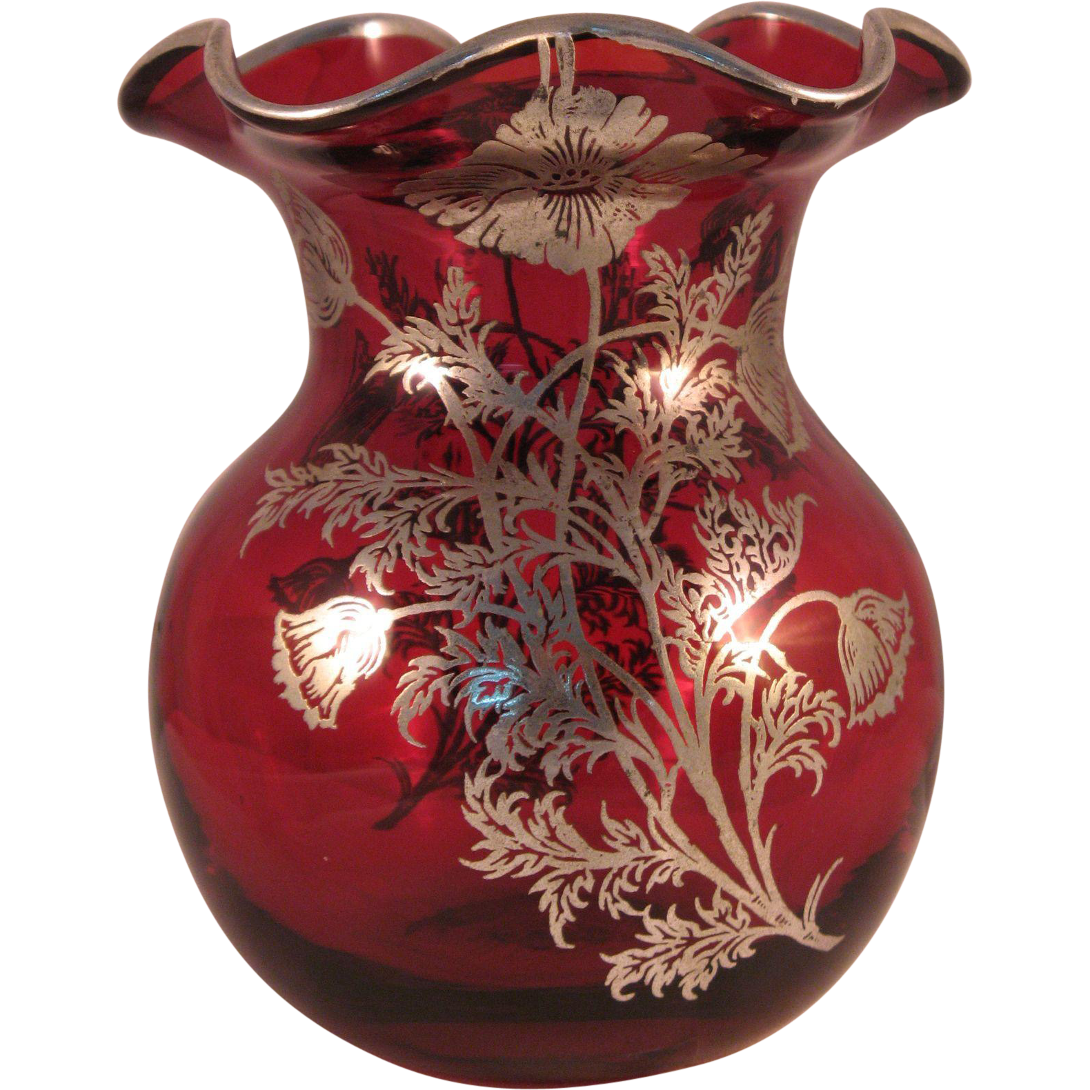 Vintage Ruby Red Ruffle Top Vase with Silver Floral ... Ruffled Art Glass Vase With Silver Handle