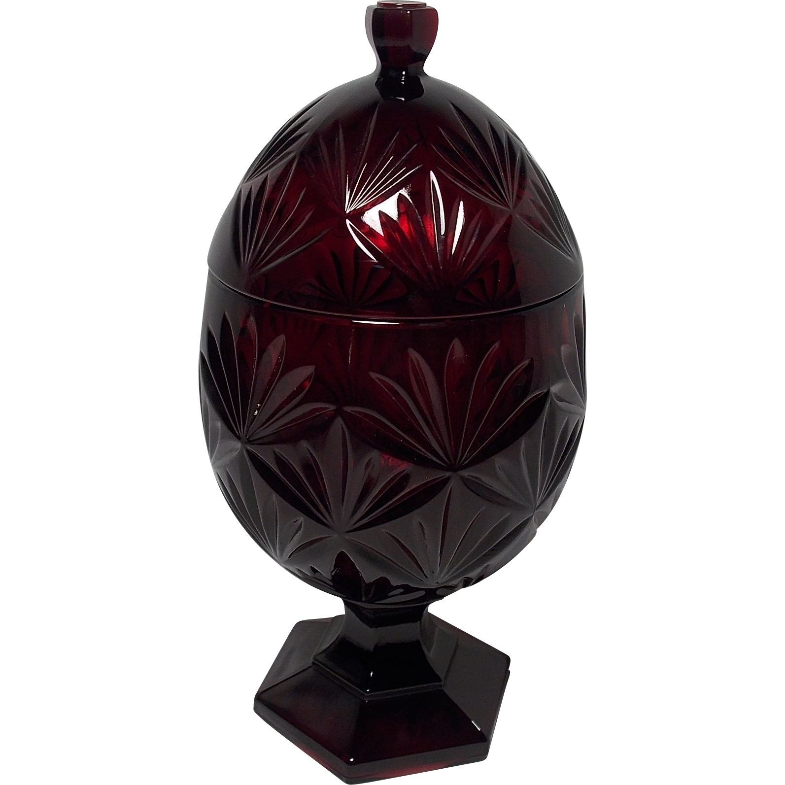 Vintage cristal d 39 arques durand ruby red candy dish compote for Arc decoration arques