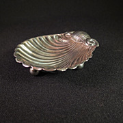 SOLD Antique Sterling Silver Scallop Shell Open Salt Dish - Red Tag Sale Item