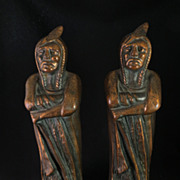 SOLD Vintage Cast Iron Bronze The Chief Standing Indian Bookends