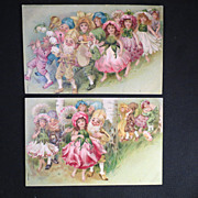 SOLD 2 Vintage Postcards Adorable Dancing Elves Gnomes