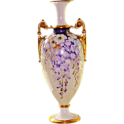 Beautiful CAC Belleek Vase Urn Purple Wisteria and Gold Handles