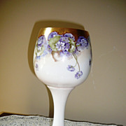 Large 11inch Willets Belleek Chalice with Violets