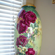 Marvelous 19 in. Large CAC Belleek Vase Urn with Roses