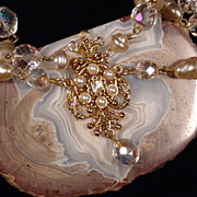 Vintage Showy Hand Knotted Faux Pearl & Swarovski Necklace AB Crystal Double Strand Medallion