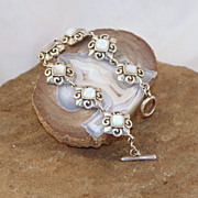 Vintage Barse Polished Shell in Sterling Silver Bracelet