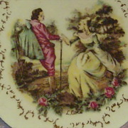 Victorian Style Courting Couple Porcelain Pedestal Compote Reticulated Bowl Signed L.Cole ArnA