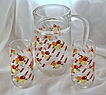 Adorable Festive Vintage Citrus Juice Set Pitcher & Matching Glasses