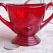 1935-1940 Ruby Red Moondrops Double Handle Open Sugar New Martinsville Glass