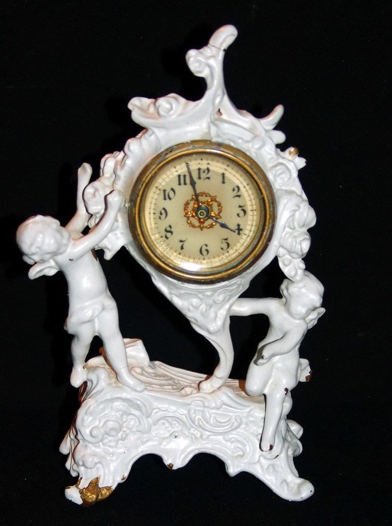 Antique & Shabby Chic Charming circa: 1888-1894 Novelty Timepiece Western Mfg Co LaSalle Ill USA Cherubs Clock