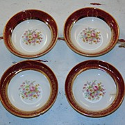 1920�s Salem Aristocrat Encrusted China 23K Gold Fruit or Dessert Bowls
