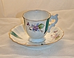 Bond China Hand Painted Teal and White Floral Violet Footed Gold Trimmed  Demitasse Cup and Saucer