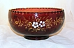 Vintage Large Hand Painted Enamel Florals Scalloped Bowl