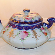 Antique Hand Painted Old Nippon Cobalt Tea Pot Asters & Roses