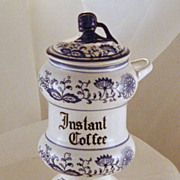 Vintage Original Arnart Creation Blue Onion Instant Coffee Japan