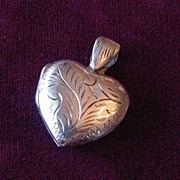 Vintage Sterling Silver Engraved Puffy Heart Locket Charm or Pendant