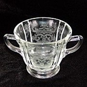 Hard to Find Vintage Crystal Madrid Depression Glass Double Handled Open Footed Sugar Bowl Cir