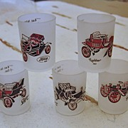 Set of 4 Hazel Atlas Frosted Vintage Automobile Shot Glasses circa 1950s