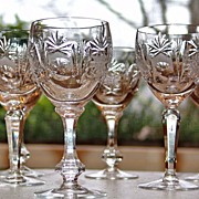 Amazing Vintage Etched & Cut Lead Crystal Clear Decanter 6 Stemmed Goblets