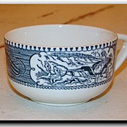 Vintage Currier & Ives Sleigh Ride Coffee Cup Royal China Royal Ironstone Made in USA