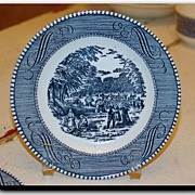 Vintage Currier & Ives The Harvest Bread Plate Royal China Royal Ironstone Made in USA