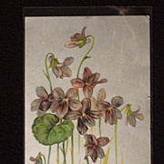 SOLD Antique Post Card Violets on Silver 1907