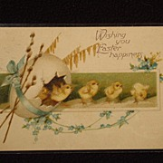 Wonderful Antique Easter Postcard Early 1900's Wishing You Easter Happiness